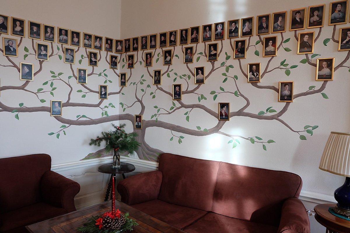 для создания генеалогическое древо из фотографий на стене используется